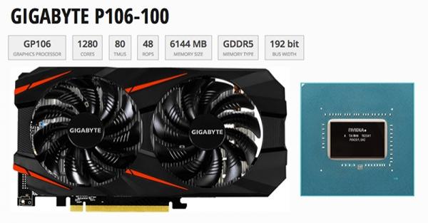 NVIDIA GEFORCE 1060 6GB P106-100