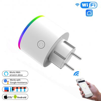 WiFi розетка ваттметр LED RGB 16A